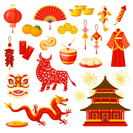 Chinese New Year holiday celebration symbols set. Lucky and wealth amulets, fireworks, clothing and meals, Chinese zodiac calendar bull or ox animal, dragon and temple building vector icons