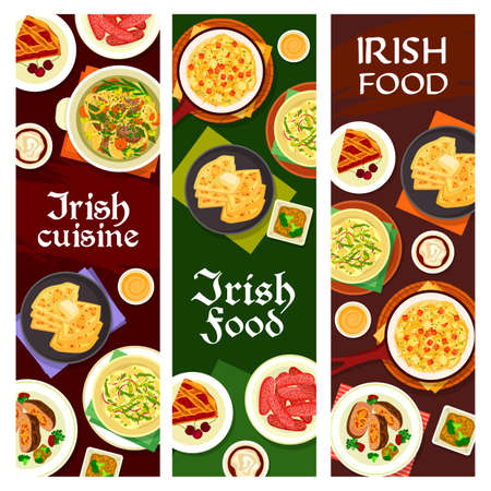 Irish cuisine vector pork sausages, cherry pie, vegetable stuffed beef, broccoli pudding and fish soup. Cheese sauce, mashed potato with cabbage colcannon and potato pancake farl, dishes of Ireland