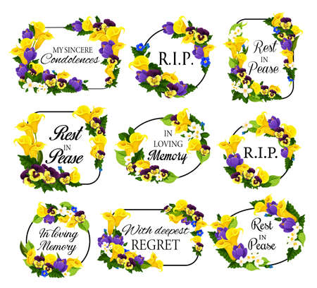 Funerary frame with spring flowers. Funeral card decoration with calla lily, narcissus and pansy, crocus, jasmine and perennial geranium vector. Memorial floral border with rest in peace condolences