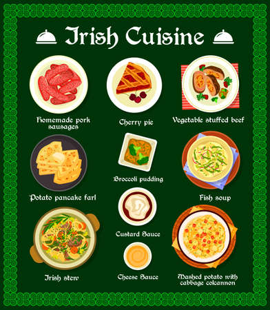 Irish cuisine vector menu homemade pork sausages, cherry pie, vegetable stuffed beef and potato pancake farl. Broccoli pudding, fish soup and mashed potato with cabbage colcannon, food of Ireland