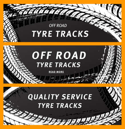 Tire prints, car tire tracks with grunge stained vector marks and spots. transportation. Dirty wheels trace, auto service or bike race, vehicle monochrome pattern, graphic textured design banners set Ilustracja