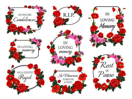 Funerary round and square frames, borders with flowers. Funeral vector card decorations set with roses flowers and buds, red poppy, azaleas and clover blossom. Obituary memorial frames with condolence Иллюстрация