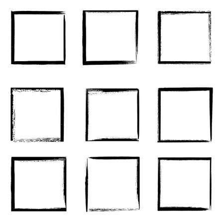 Grunge frames vector set, black square shape borders with scratched rough edges. Grungy old texture, dirty weathered vignettes or photo frames, decorative design elements isolated on white background Ilustracja