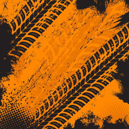 Offroad grunge tire prints, vector grungy orange abstract pattern on black background. Auto rally or motocross dirty tires print, off road trails texture for racing tournament or garage service design