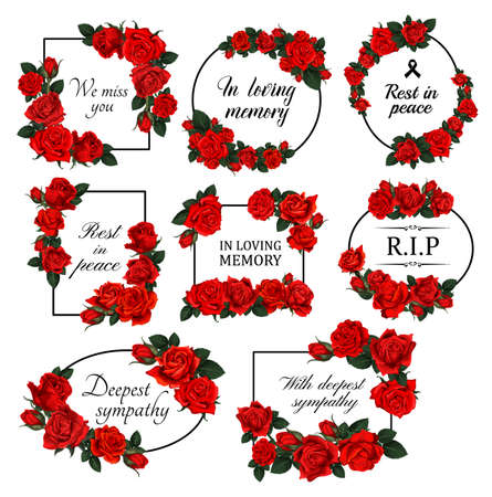Funereal floral borders with red roses. Mourning card decor with roses flowers, leaves and buds engraved vector. Funerary frame with floral arrangement and RIP, in loving memory condolences lettering Vetores