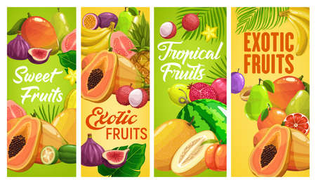 Fresh tropical fruits vector pineapple, banana or pomegranate, pear, figs or watermelon with papaya and passion fruit. Lychee, carambola and guava with feijoa or mango tropic fruit cartoon banners set