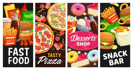 Fast food and snack bar desserts vector street meals burgers, donuts and popcorn, french fries and soda drink. Chicken nuggets, cheeseburger, pizza and ice cream takeaway fastfood menu banners set Vettoriali