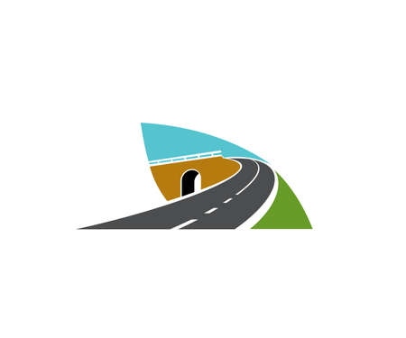 Freeway road turn over tunnel or bridge icon. Motorway and speed highway, driveway intersection, level junction vector. Road journey and travel emblem, transportation industry design element