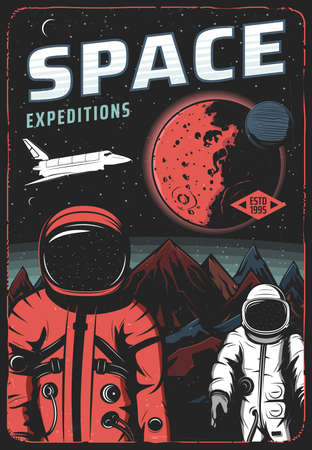 Astronauts on Mars surface, space expedition retro vector poster. Shuttle and spacemen on red alien planet in cosmos. Universe colonization mission, exploration cosmonauts space research vintage card