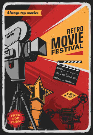 Retro movie festival vector poster with vintage video camera, film reel, award star and clapper. Film studio, cinema party or cinematography entertainment industry grunge card with old camcorder