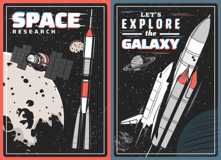Spaceships, satellite and planets with glitch effect, vector design of space travel. Shuttle with rocket, universe galaxy star and meteor, Moon, Earth and Jupiter retro posters of astronomy