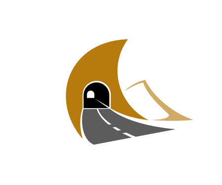 Highway road tunnel, underground motorway icon. Freeway, asphalt road and driveway tunnel through mountain rock or soil vector. Transportation, navigation and travel emblem design element 일러스트