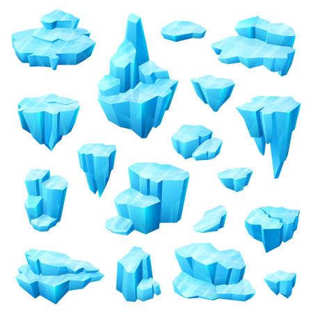 Ice crystal, glacier and iceberg cartoon set of winter vector design. Cold blocks and cubes of frozen water, blue pieces of broken floe, icicle and arctic icy rocks, ice and snow decorations for games Ilustrace