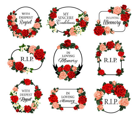 Funeral frames with red roses flowers and condolences. Obituary memorial vector frames with RIP rest in peace, in loving memory condolences and floral arrangements. Funereal cards engraving decoration Vector Illustration