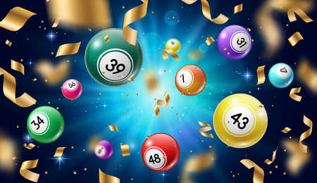 Lottery balls 3d vector bingo, lotto or keno gambling games. Gaming leisure activity recreation, lottery raffle, colorful spheres with lucky numbers of winning combination falling with gold confetti.
