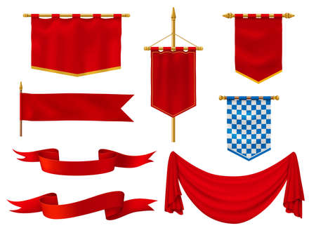 Medieval flags and banners, royal vector fabric of red and checkered blue and white colors. Vintage style ribbons, knight standards with golden fringe, antique military gonfalon on poles isolated set