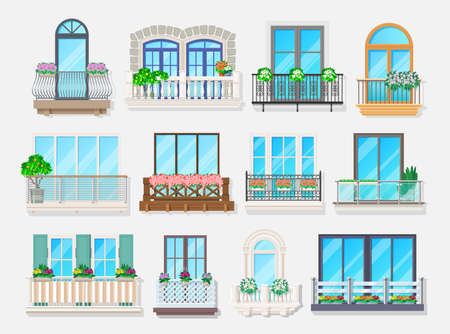 Balconies with windows vector design of house and apartment building facade architecture element. Home exterior with balconies, glass doors, metal banisters or railings, stone balustrades, consoles
