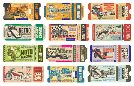 Speedway motorsport racing vintage tickets isolated vector templates. Retro cars and bike race event pass cards, paper coupons with perforated cut line. Speedway championship ticket control with dates