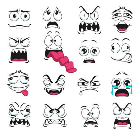 Cartoon face expression isolated vector icons, negative emoji vampire with sharp fangs, evil, scared and shocked, gloat, grin, smirk. Facial feelings yelling, show tongue, crying, upset emoticons set