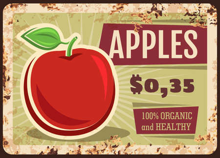 Apples rusty metal plate, vector fresh fruit, vintage rust tin sign, price tag for market or store. Ripe apple local fruit, orchard organic production retro poster, shop ad promo, ferruginous label