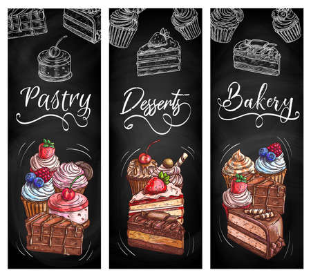 Bakery shop pastry desserts chalkboard sketch banners. Muffin, cheesecake and cupcake with fruit cream and fresh berries, piece of cake with chocolate frosting and waffle sticks hand drawn vector