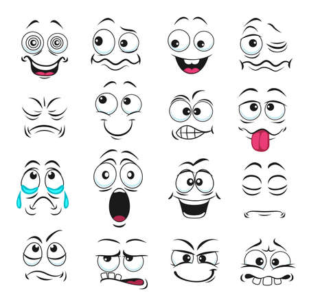 Face expression isolated vector icons, funny cartoon emoji hypnotized, crying and surprised, show teeth and tongue, laughing, smiling and sad. Facial feelings, emoticons upset, happy cute faces set