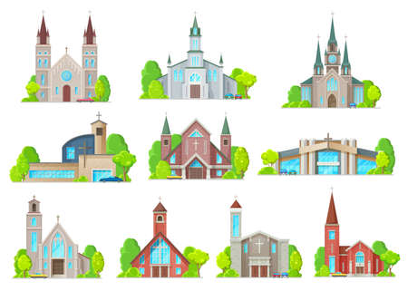 Catholic church buildings vector icons. Cathedral, chapels and monastery facades. Medieval and modern churches design, christian evangelic religious architecture exterior isolated cartoon symbols set