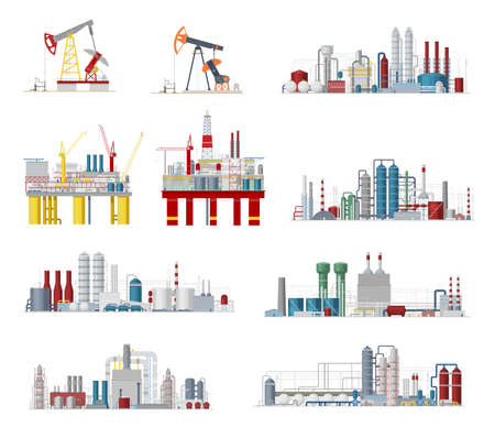 Industrial buildings and factory facilities vector icons. Plants, chemical estate, gas pipelines, oil refinery or mining manufacturing and engineering objects, energy production industry cartoon signs
