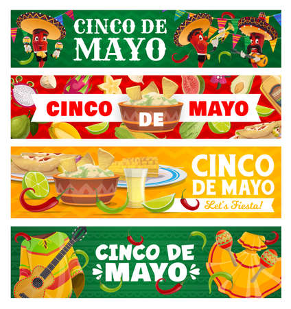 Cinco de Mayo vector jalapeno chili peppers in sombrero playing music. Mexican food guacamole and nachos, corn, enchiladas, tequila with lime, national dress. Cinco festival, fiesta party banners set