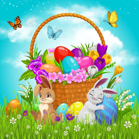 Easter basket with flowers, painted eggs and bunnies on green lawn with flying butterflies under cloudy sky. Cartoon vector pottle with pansies, crocuses, rabbits on field. Happy Easter holiday gift
