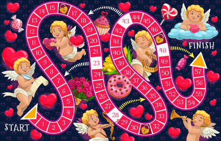 Kids board game vector template, Valentines day step boardgame with block path, numbers, start, finish and cartoon Cupid characters and hearts educational children riddle, family or preschool activity