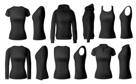 Women clothes isolated vector black tshirts polo, hoodie and longsleeve shirts with singlet apparel mockup. Realistic 3d female garment, underwear. Blank wear clothing design, outfit objects set