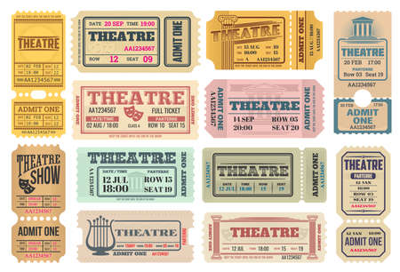 Theater show, actors performance retro tickets set with comedy and tragedy masks, lira musical instrument and ancient greece columns vector. Theater admission pass, admit one with tear-off perforation
