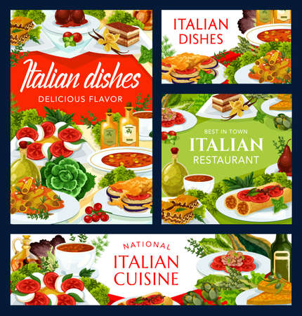 Italian cuisine vector dishes turin soup, spicy tomato soup, vegetable cheese omelette and tomato mushroom pasta. Ratatouille, coffee cake, stuffed cannelloni with fish and chicken salad food of Italy