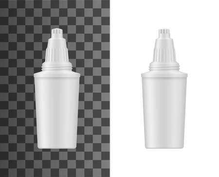Water filtration pitcher cartridge realistic mockup. Home water treatment and desalination filter, dispenser replacement cartridge with carbon filling and plastic housing 3d vector template Иллюстрация