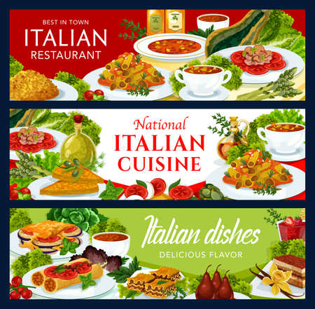 Italian cuisine vector risotto, tomato soup, pears in wine or caprese salad. Beef lasagna, vegetable cheese pmelette, pasta and coffee cake, stuffed cannelloni with fish, chicken salad food of Italy