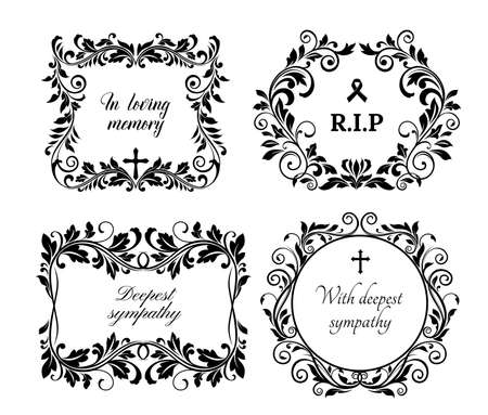 Funeral memory and condolences cards for obituary and death grief black banner, vector floral wreath. Funeral black flowers, In loving memory and RIP ribbon with cross and floral memorial wreath Vector Illustration