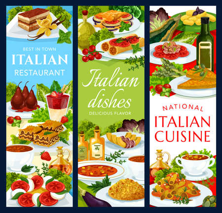 Italian cuisine vector vegetable cheese pmelette, strawberry cream dessert, tomato mushroom pasta. Ratatouille, coffee cake, stuffed cannelloni with fish, potato gnocchi, chicken salad food of Italy