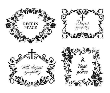 Funeral wreath cards of flowers, obituary RIP and condolences, vector black floral frames. Funeral memory and Deepest Sympathy message for columbarium or cemetery grave plates, black roses wreath