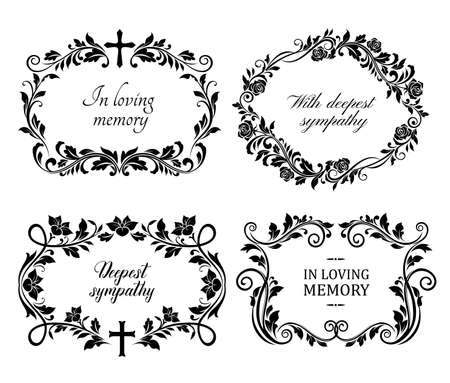 Funeral mourning frames with roses and lily flowers engraved arrangements. Funerary memorial plates borders with floral black ornaments and cross vector. Funeral borders with memorial condolences Vector Illustration