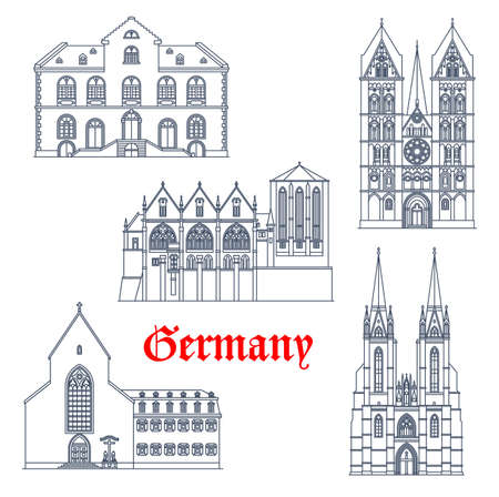 Germany landmarks architecture, German travel icons of Marburg in Hesse, vector. German landmark buildings of Wiesbaden rathaus and Limburg cathedral, Elisabethkirche and Saint Sebastian church Ilustração