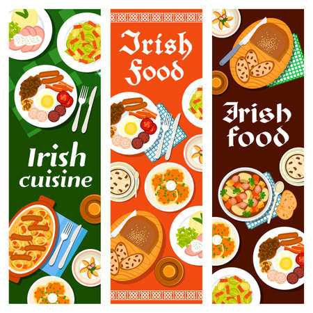 Irish food cuisine, breakfast menu and Ireland dishes, vector banners with bread raisin, pudding and beef stew. Irish cuisine restaurant menu food lunch Dublin coddle, Brussels sprouts and bacon salad Ilustração