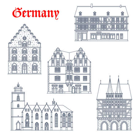 Germany landmarks architecture in Hesse, vector icons of churches and town halls. German travel buildings of Weinhaus and Walpurgiskirche church, Stumpfhaus in Alsfeld, Hochzeithaus and Rathaus