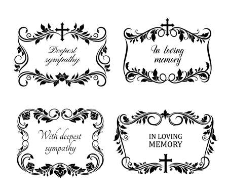 Funeral cards, vector vintage condolence floral wreaths, ornament with flourishes, cross and obituary typography. Retro frames, obsequial memorial, funeral sorrowful borders or necrology templates set