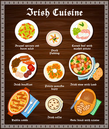 Irish food cuisine menu dishes and Ireland meals, vector restaurant lunch and dinner. Irish traditional food menu breakfast peach pudding, Brussels sprouts, potato pancakes boxty and coffee