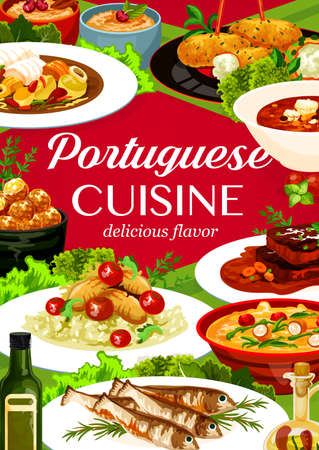 Portuguese cuisine vector cod pasteigi and soup, fish croquettes, sardines with stewed chicken in wine and beef stew. Traditional portugal food, gourmet dishes cartoon poster for restaurant menu cover