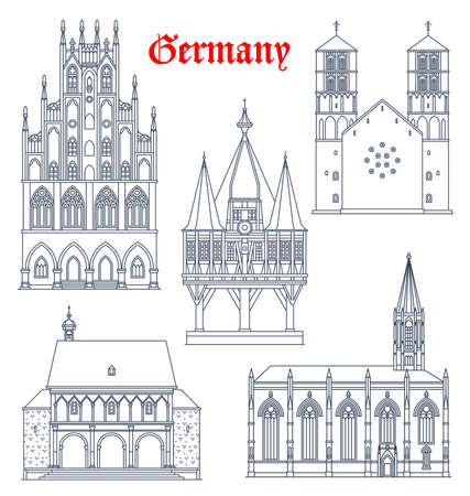 Germany landmark buildings and cathedrals icons, vector German travel and famous architecture, vector. Rathaus in Munster Westphalia, St Lambert catholic church, Sankt Paulus Dom and wooden chapel