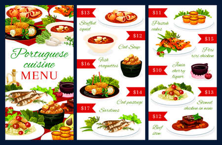 Portuguese vector menu template stuffed squid, cod soup, pasteigi, fish croquettes and sardines. Pasteh cakes, piri riri chicken, jinia cherry liquor, stewed chicken in wine, beef stew portugal food