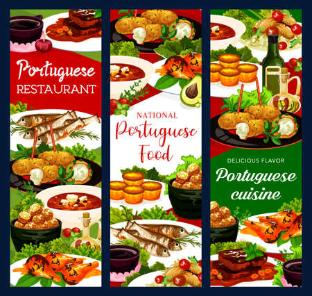 Portugal restaurant dishes cod soup, fish croquettes, cod pasteigi, sardines and pasteh cakes. Piri riri chicken, jinia cherry liquor or stewed chicken in wine with beef stew portuguese national meals