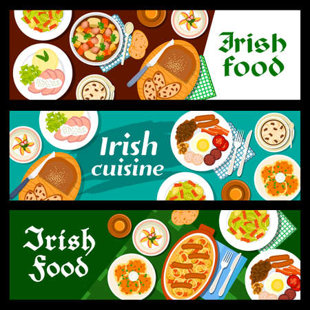 Food, Irish breakfast, Ireland cuisine vector banners, bread, pudding with raisins, salad and beef stew meals, Irish cuisine menu, restaurant traditional coffee, lunch meat and pastry desserts